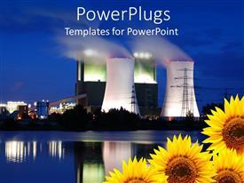 Elegant PPT theme enhanced with burning oil plants emitting heavy smoke with four sunflowers