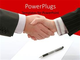 Presentation theme with business agreement with handshake over pen and document