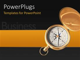 Slides with business depiction with open compass for direction over black background