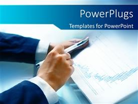 Colorful presentation theme having business man analyzing financial reports with blue color