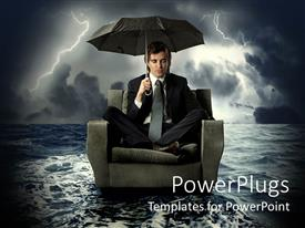 Slide deck featuring business man floating on water with umbrella in electric storm, risk management
