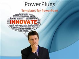 Elegant PPT theme enhanced with business man with hand on chin and speech bubble with innovative terms
