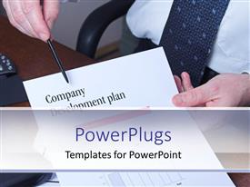 Elegant PPT theme enhanced with business man holding paper and pen with company development plan