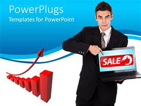 PPT layouts enhanced with business man holding and pointing at a laptop with a sale text