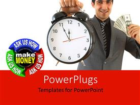 PPT layouts featuring a business man holding up a clock and some dollar bills