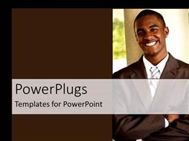 PPT theme featuring an business man smiling beside a brown colored wall