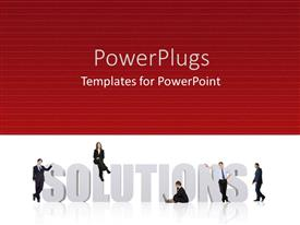 Slides enhanced with business men solutions red background problems planning strategy team work