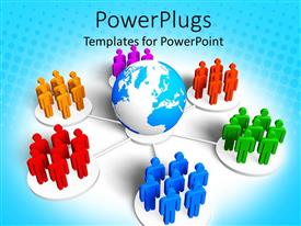 Colorful PPT theme having business metaphor with groups of 3D people in different colors standing around globe