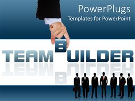 Beautiful slide deck with business people with briefcases over blue and white background with text TEAM BUILDER
