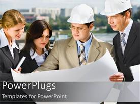 Elegant PPT layouts enhanced with business people with hard hats studying blueprint diagram