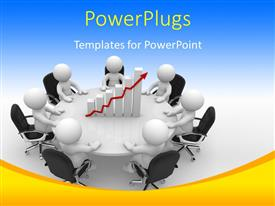 Presentation theme having business people having round table meeting with financial chart