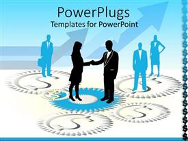 Elegant presentation theme enhanced with business people with man and woman in suits shaking hands