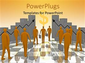 PPT theme featuring business people moving towards wealth and growth with 3D bars and arrows