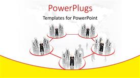 PPT theme with group of business professionals linked in red circles depicting business network