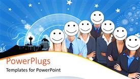Presentation design featuring business people with white smiley faces