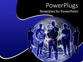 PPT theme featuring business persons stand across globe with blue and black background