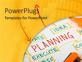 Audience pleasing PPT theme featuring pen and ink on drawn chart of business plan