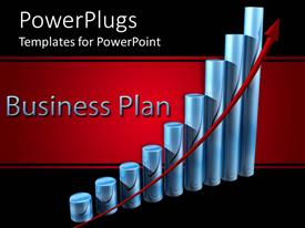 PPT theme having a business plan with a growth chart and black background