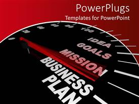 Presentation enhanced with business plan speedometer with motivational words for achieving success in business