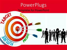 Presentation theme with business professionals with colorful darts stuck in bulls eye of business target