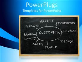 Beautiful PPT theme with business strategy chart on a chalk board, on a blue background