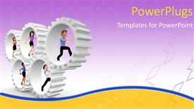 Beautiful PPT layouts with five human cartoon characters running inside white gears