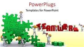 Amazing PPT theme consisting of business Team work building a puzzle