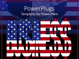 Colorful presentation theme having business text with American flag on a dark background