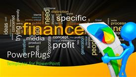 Presentation with business theme with a man looking at financial grpahs along with keywords