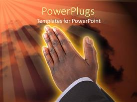 Amazing presentation theme consisting of businessman hands put together in prayer posture.