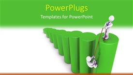 PPT theme enhanced with a businessman helping another up a green barchart