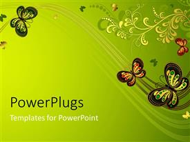 PPT layouts featuring butterflies and flower on olive green background
