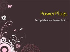 PPT layouts having a butterfly flying over the flowers with grayish background