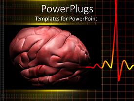 Slides featuring cadiogram pulse with depiction of human brain on black background