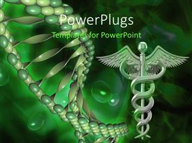 Presentation consisting of caduceus medical symbol and DNA structure over green background