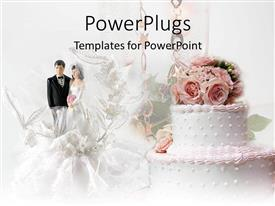 Elegant presentation theme enhanced with with cake with pink flowers and married couple figure