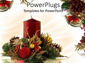 PPT theme consisting of a candle with celebration material in the background