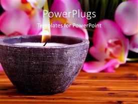 Elegant PPT layouts enhanced with a candle with flower petals in the background
