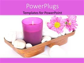 Colorful slide set having a candle with a lot of flowers and a white background