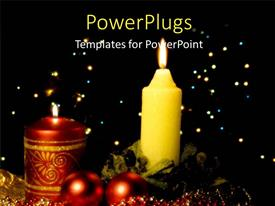 Colorful PPT theme having a candle with a number of lights in background