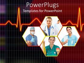 Slide set having cardiogram behind Healthcare professionals in hexagons