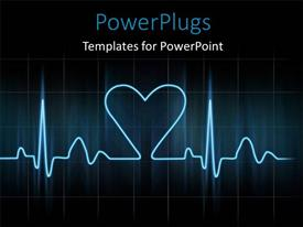 Colorful presentation having cardiogram with glowing blue lines on black background with love symbol