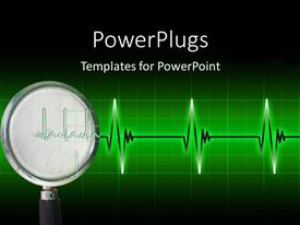 Powerpoint template ecg wave in front and brain tumor being presentation theme having cardiogram pulse on bright green gridlines with dark edges toneelgroepblik Images