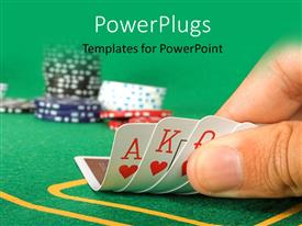PPT layouts featuring cards held by fingers showing a royal flush with chips