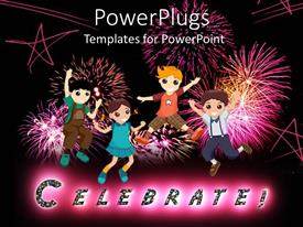 Beautiful presentation with cartoon children jumping with fireworks, stars, celebrate