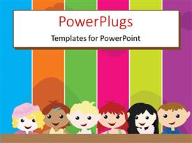 Elegant PPT theme enhanced with a cartoon theme of six kids standing in front of a colorful board