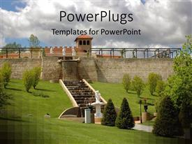 PPT theme enhanced with a castle with a lot of greenery