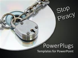 PPT theme having cD surrounded by silver chain lock and words stop piracy on black background