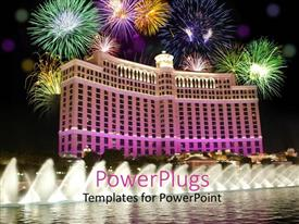 Presentation enhanced with celebration on the beautiful building in Les Vegas