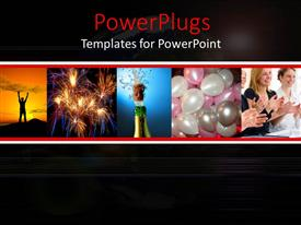 Theme with celebration, success metaphor with champagne bottle, applause, fireworks